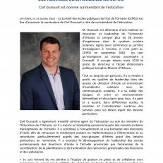 Carl Dussault est nommé surintendant de l'éducation au CEPEO
