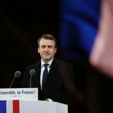 ''Emmanuel Macron élu à la présidence, en France''